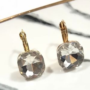 White Rhinestone Leverback Boutique Earring